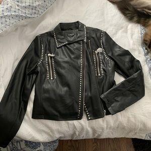 Bebe black studded leather jacket